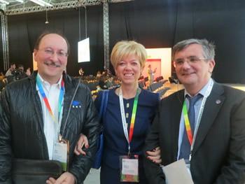 На снимке слева направо: Брэд Хольц (Cyon Research, США), Марина Король («Конкуратор»), Николас Нисбет (AEC3, Великобритания)